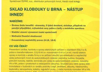 Nabídka pracovního místa – Čepro – sklad Klobouky u Brna – údržba elektro