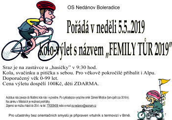 """Cyklovýlet """"FEMILY TŮR 2019″"""